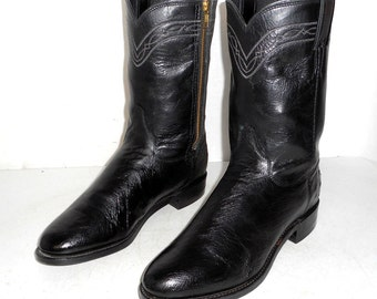 Mens Size 8.5 D Cowboy Boots Black Leather Altered Ropers Western Womens 10