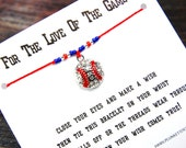 For The Love Of The Game - Wish Bracelet With Rhinestone Baseball Charm - Custom Made In Your Team Colors!!!