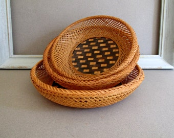 Vintage Straw Baskets Boho Indie Decor Nesting Baskets Natural Color