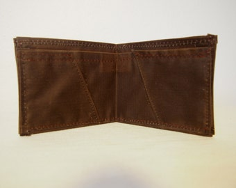 Brown Waxed Cotton Billfold Wallet