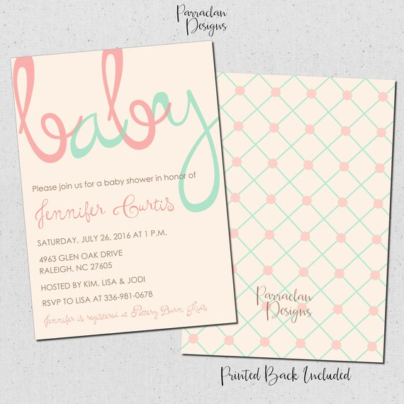 Baby Shower Invitation | Baby Love Baby Shower Invitation | Pink & Mint Baby Shower Invitation | printable | digital file {Baby94}