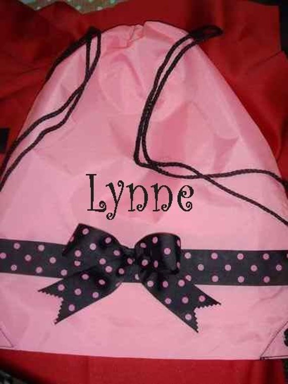 Dance Cinch Bag Backpack personalized with first name or initial