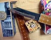 SUPER RARE! Vintage Japan Sheath Knife with Ruler Artisan made 20.3 cm 8 in