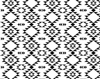Southwestern Triabl Pattern Fabric - Black And White By Kimsa - Black and White Tribal Cotton Fabric By The Yard With Spoonflower