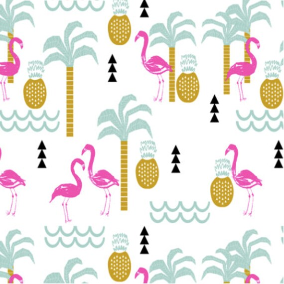 Pineapple Fabric Flamingo Tropical Palm Tree Summer Beach