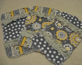 3 New  Yellow Gray Yellow Stripes Dots Flowers Baby Girl Burp Cloths with minky backing