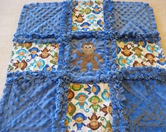 New Baby Boy Silly Monkey Rag Quilt Blanket 22x22