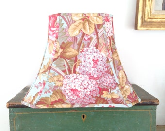 """French Floral Lamp Shade, Lampshade Peacock Blue Amazing Vintage Fabric, 7"""" top x 12"""" bottom x 9.5"""" high - To Die for Fabric - Swoonable!!"""