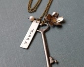 Just A Dream Spring Bloom Custom Hand Stamped Mixed Metals Flower Key And Pearl Necklace by MyBella