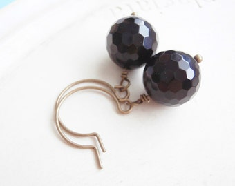 Dangle Earrings - Petite Noir - Black Faceted Onyx Beads