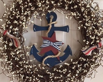 "Anchors Away Wreath, 18"" grapevine with pip berries"
