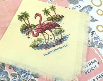 Vintage Silver Springs Florida handkerchief hankie hanky 1950s flamingos and palm trees Floridiana souvenir kitsch