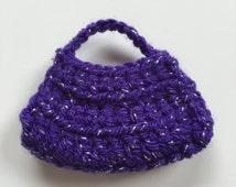 Handmade Ellowyne Gene Clothes Purse Handbag Crochet Purple Silver