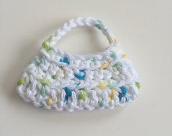 Handmade Ellowyne Gene Clothes Purse Handbag Crochet White Speck