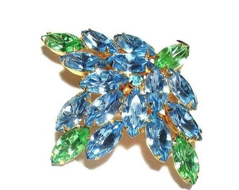 Vintage Sky Blue and Green Rhinestone Brooch or Pin