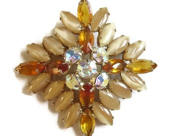 Vintage JULIANA style Topaz and Taupe Givre Rhinestones Brooch with Aurora Borealis