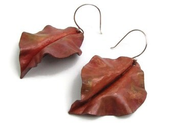 Red Copper Curly Leaf Earrings - Heat Treated Patina Copper Earrings - Nature Leaf Earrings -LEAF-001