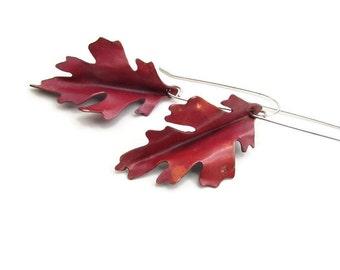 Oak Leaf Earrings - Copper Leaf Earrings - Black Oak Leaf - Modern Earrings - Unique Anniversary Gifts - Gifts for women