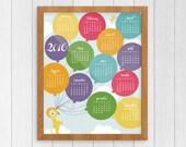 2016 Calendar Printable, PDF Instant Download, Balloon Nursery, Last Minute Gift, Gallery Wall Kids Room, DIY Print, Keepsake Calendar