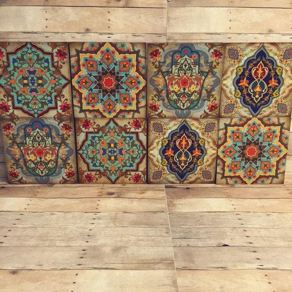 Hamsa Wall Art moroccan wall blocks set hamsa block set of 8 hamsa wall art