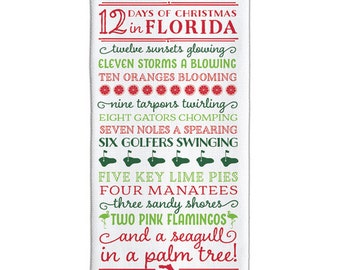 PREORDER 12 Days of Christmas in Florida Tea Towel