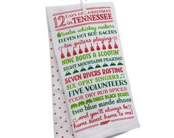 PREORDER 12 Days of Christmas in Tennessee Tea Towel
