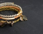 Pearl, Labradorite Charm Beaded Wrap Bracelet Set - Taupe, Orange, Golden Olive - Stone Star, Spiral, Patina Teardrop, Boho Bracelet Set