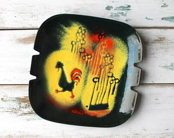 Modernist Enamel on Copper Rooster Ashtray, MCM Country Enamelware Dish, Bovano Style