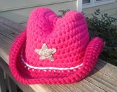 Custom Crochet Cowboy Hat,  Boys or Girls, Choice of Color, All Sizes.  Great Warm Cowboy Hat For Cooler Weather, Photo Prop, Costume etc...