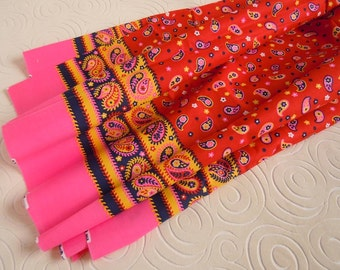 2 Yards Boho Fabric Vintage 1970s Paisley Pink Yellow and Red Border Cotton Fabric
