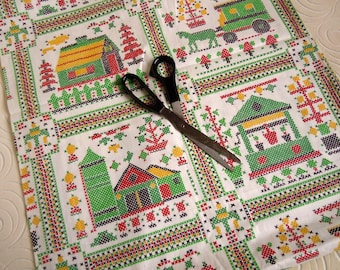 2 Yards Cotton Fabric Folk Art Faux Cross Stitch Design | Red Green and Blue Houses and Trees
