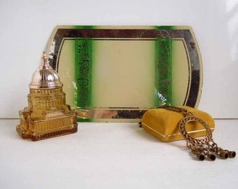 Vintage Art Deco Decorative Mirror Rustic Home Decor Green Ivory Accent Piece Centerpiece
