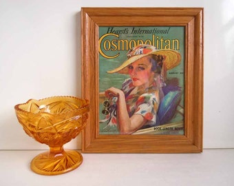 1930s Framed Picture Portrait Art Cosmopolitan Magazine Print Ad