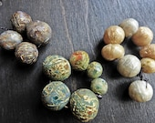 Gold fissures. Textured polymer clay art bead sets with metallic flash. You choose.