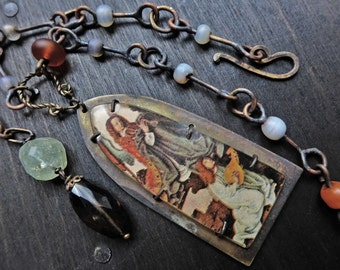 """Rustic art necklace with angels in prong shrine- """"Hierology"""""""
