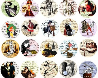 Salem Witch Trials documents art witchcraft 1.5 inch circles digital download collage sheet image graphics magic spell art printables