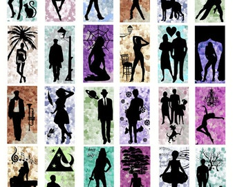 """people Silhouettes digital download domino Collage sheet 1"""" x 2"""" inch graphics images polka dots silhouette scrapbooking craft printables"""