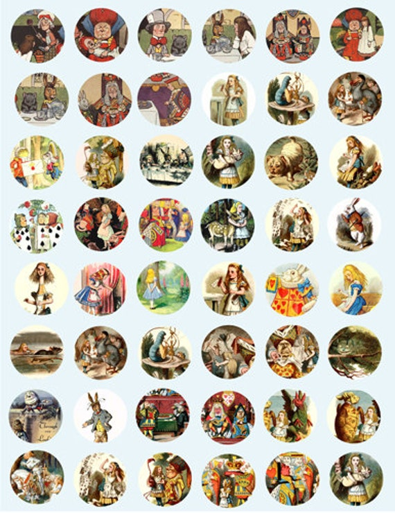 Alice In Wonderland Vintage woodcuts from 1890s digital download COLLAGE SHEET 1 INCH circles