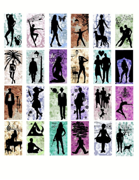 "people Silhouettes digital download domino Collage sheet 1"" x 2"" inch graphics images polka dots silhouette scrapbooking craft printables"