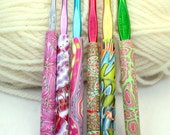 Polymer clay crochet hook set, Susan Bates new hooks, 6 designs, Handmade size F5 through K10.5
