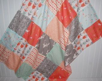 arrow baby blanket-patchwork minky baby blanket - deer baby blanket-gold baby blanket- mint baby blanket-triangle baby blanket