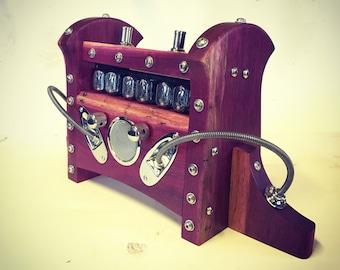 Retro Futurist Nixie Tube Mantle Clock - Purpleheart & Chrome Edition