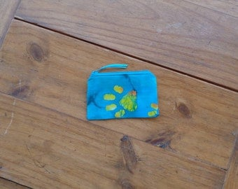 Zippered Credit Card Pouch in a Paw Print Teal Batik Print