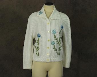Clearance SALE vintage 60s Cardigan - 1960s Pansy Floral Applique Sweater SZ L