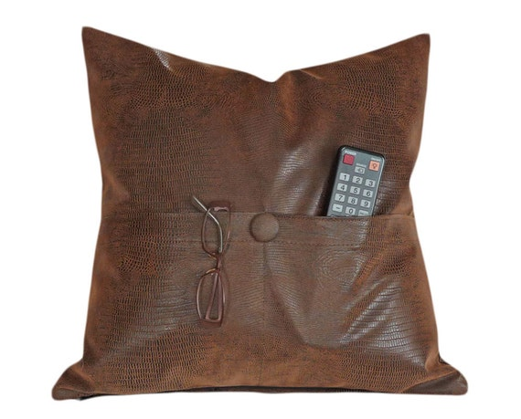 POCKET PILLOW, Brown Leather Pillows, Man Cave Pillow, Reptile Faux Leather, Remote Holder, Space Saver, Apartment Decor, Mens Decor 20x20