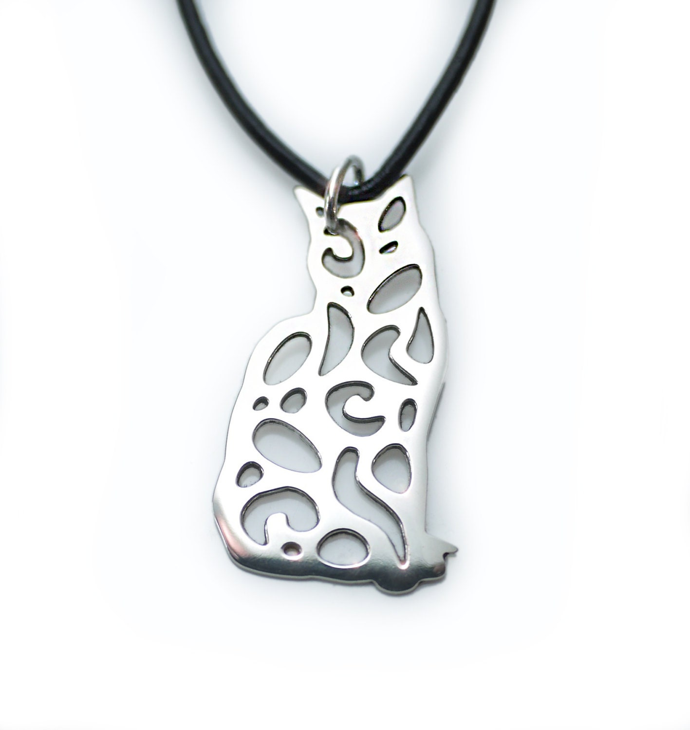 Silver Cat Jewelry, Pendant Necklace, Small Version
