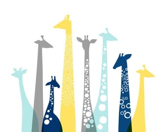 "16X20"" giraffes landscape format giclee print on fine art paper. sky blue, navy, yellow, gray."
