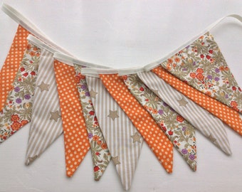 Sale 15% off Orange Bunting - Wedding Bunting, Bedroom Decoration, Photo Prop, 12 flags, Room Decor,