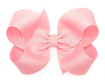 Pink Hair Bow,  Pink Boutique Bow, 4 inch Grosgrain Bow, No Slip Hair Bow for Girls, Toddler Hairbow, True Pink Grosgrain Bow, Big Baby Bow