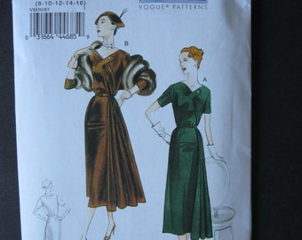 Vintage Vogue Pattern 8850 Original 1951 Design Reissued Unused Dress and Belt Size B5 8 10 12 14 16 Bust 34 36 38 Factory Folded